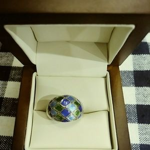 Cloissone Sterling Silver Ring